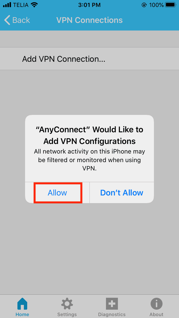 cisco anyconnect in IOS screens