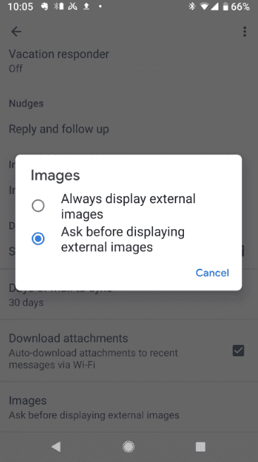 disabling email image loading in android 2