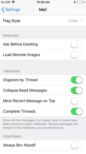 disabling email image loading in IOS